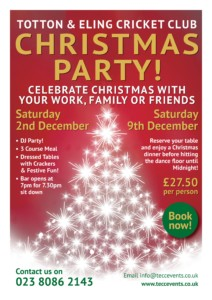 Christmas Party Poster 2017 - Totton & Eling CC Events