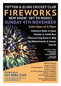Totton & Eling CC Fireworks Page Poster