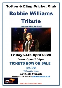 Totton & Eling CC Events - Robbie Williams Tribute
