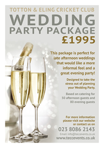 Wedding Party Package for up to 80 guests